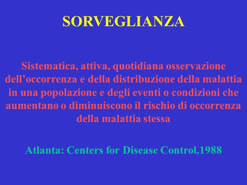 SORVEGLIANZA Sistematica, attiva, quotidiana osservazione delloccorrenza e della distribuzione della malattia in una popolazione e degli eventi o cond