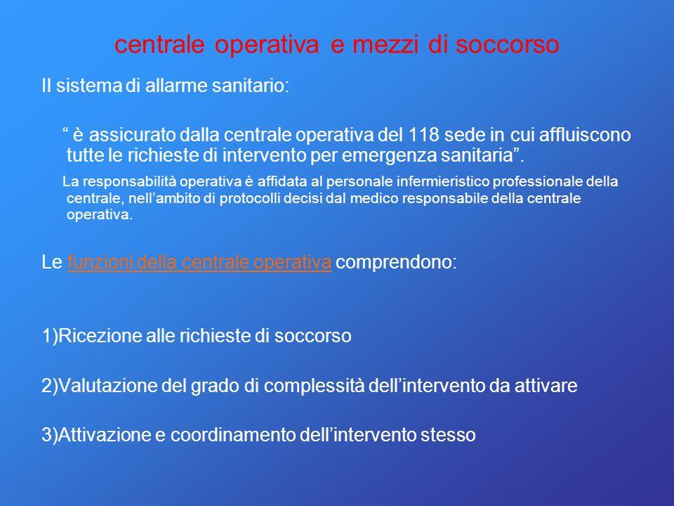 centrale operativa e mezzi di soccorso Il sistema di allarme sanitario: è assicurato dalla centrale operativa del 118 sede in cui affluiscono tutte le