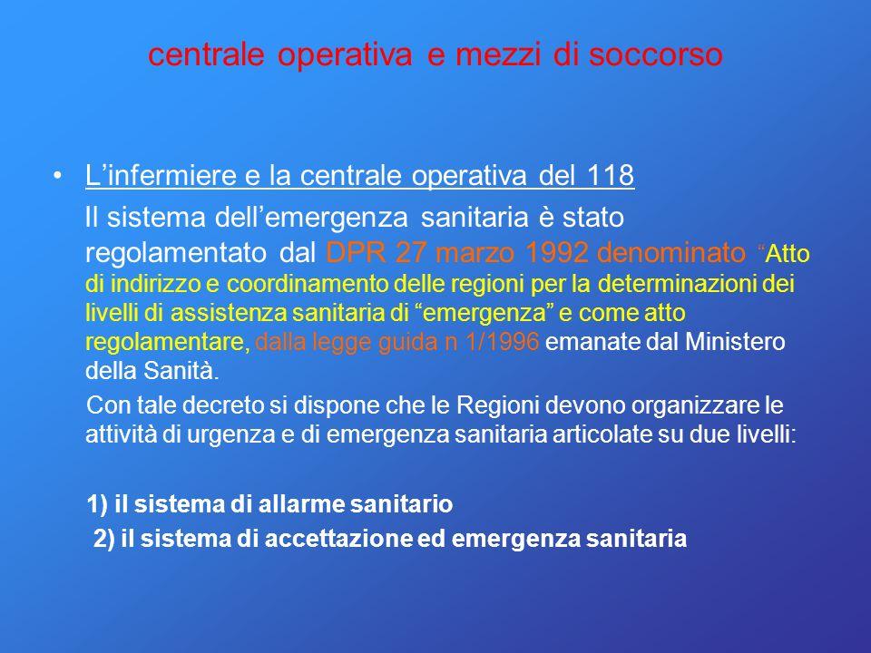 centrale operativa e mezzi di soccorso Linfermiere e la centrale operativa del 118 Il sistema dellemergenza sanitaria è stato regolamentato dal DPR 27