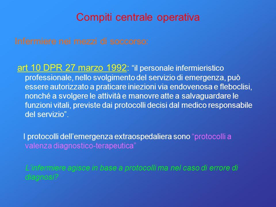 Compiti centrale operativa Infermiere nei mezzi di soccorso: art 10 DPR 27 marzo 1992: il personale infermieristico professionale, nello svolgimento d