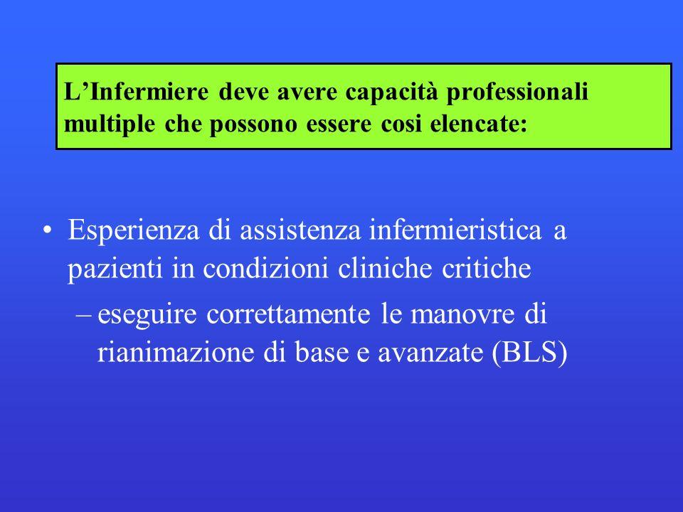 LInfermiere deve avere capacità professionali multiple che possono essere cosi elencate: Esperienza di assistenza infermieristica a pazienti in condiz