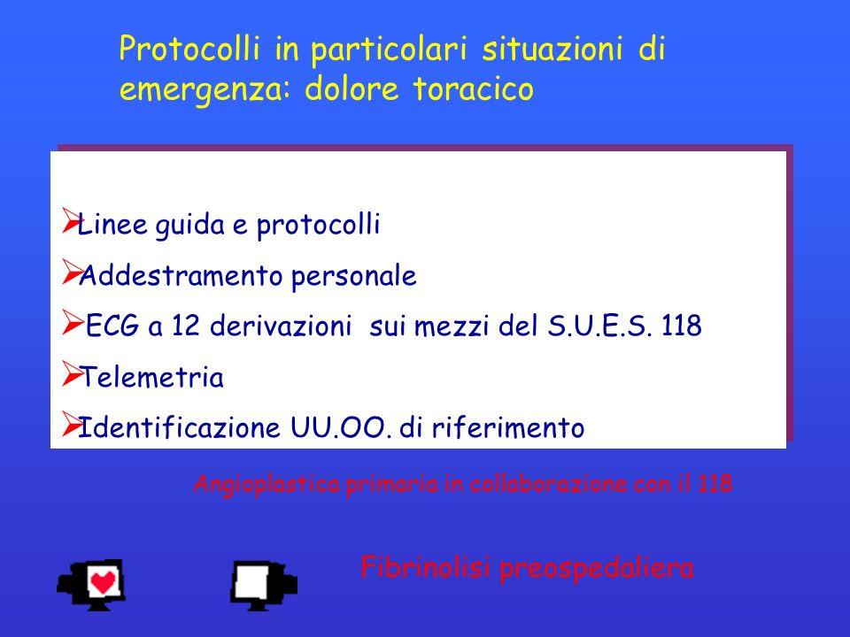 Linee guida e protocolli Addestramento personale ECG a 12 derivazioni sui mezzi del S.U.E.S. 118 Telemetria Identificazione UU.OO. di riferimento Line