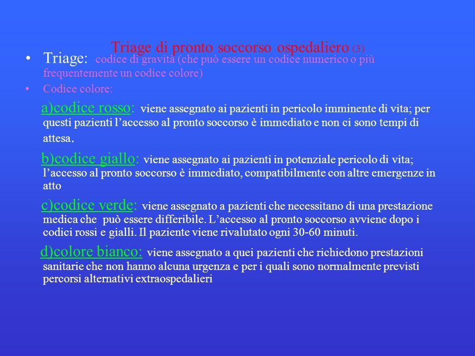 Triage di pronto soccorso ospedaliero (3) Triage: codice di gravità (che può essere un codice numerico o più frequentemente un codice colore) Codice c
