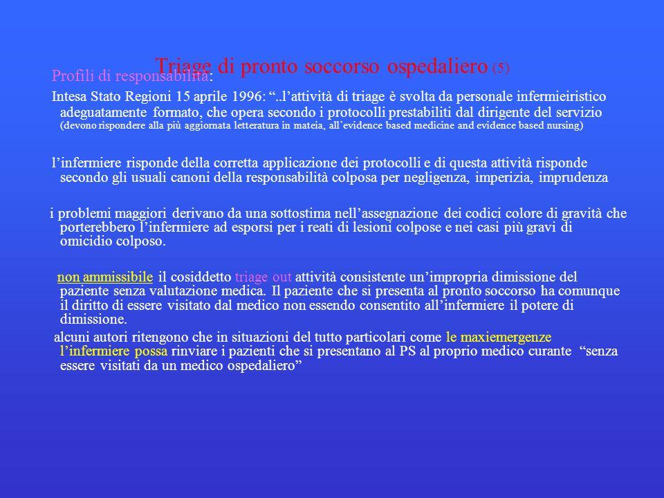 Triage di pronto soccorso ospedaliero (5) Profili di responsabilità: Intesa Stato Regioni 15 aprile 1996:..lattività di triage è svolta da personale i