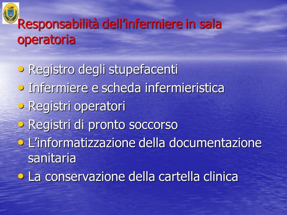 Responsabilità dellinfermiere in sala operatoria Registro degli stupefacenti Registro degli stupefacenti Infermiere e scheda infermieristica Infermier