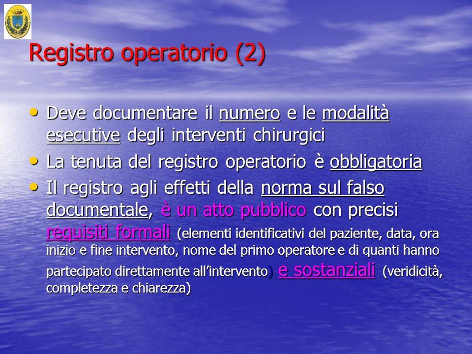 Registro operatorio (2) Deve documentare il numero e le modalità esecutive degli interventi chirurgici Deve documentare il numero e le modalità esecut