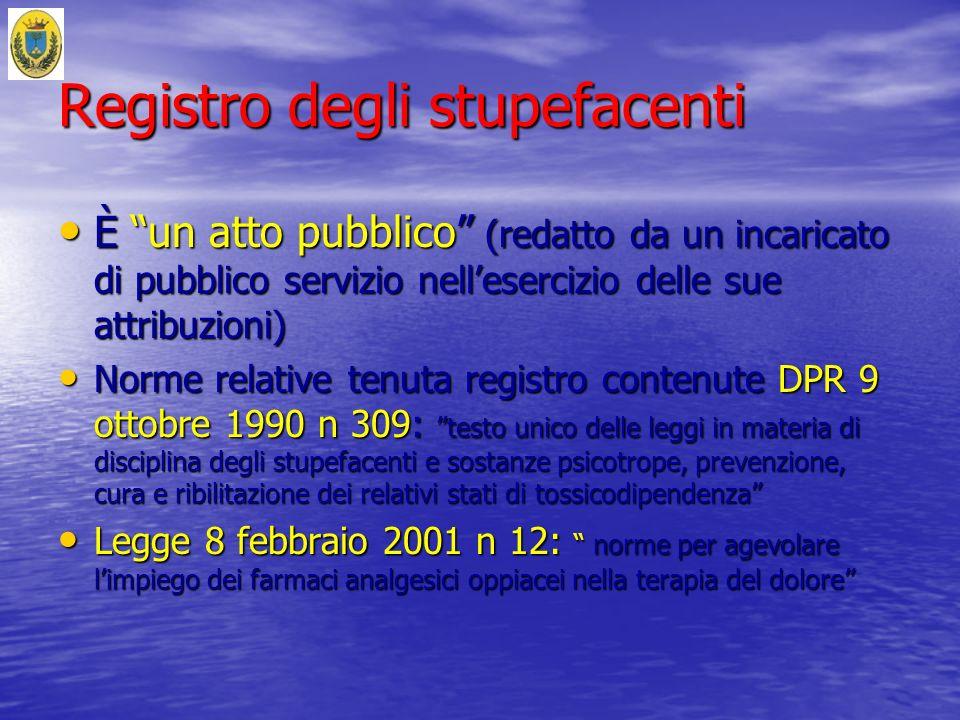 Registro degli stupefacenti È un atto pubblico (redatto da un incaricato di pubblico servizio nellesercizio delle sue attribuzioni) È un atto pubblico
