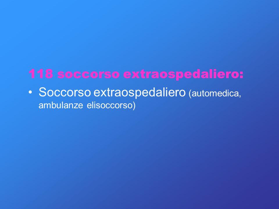118 soccorso extraospedaliero: Soccorso extraospedaliero (automedica, ambulanze elisoccorso)
