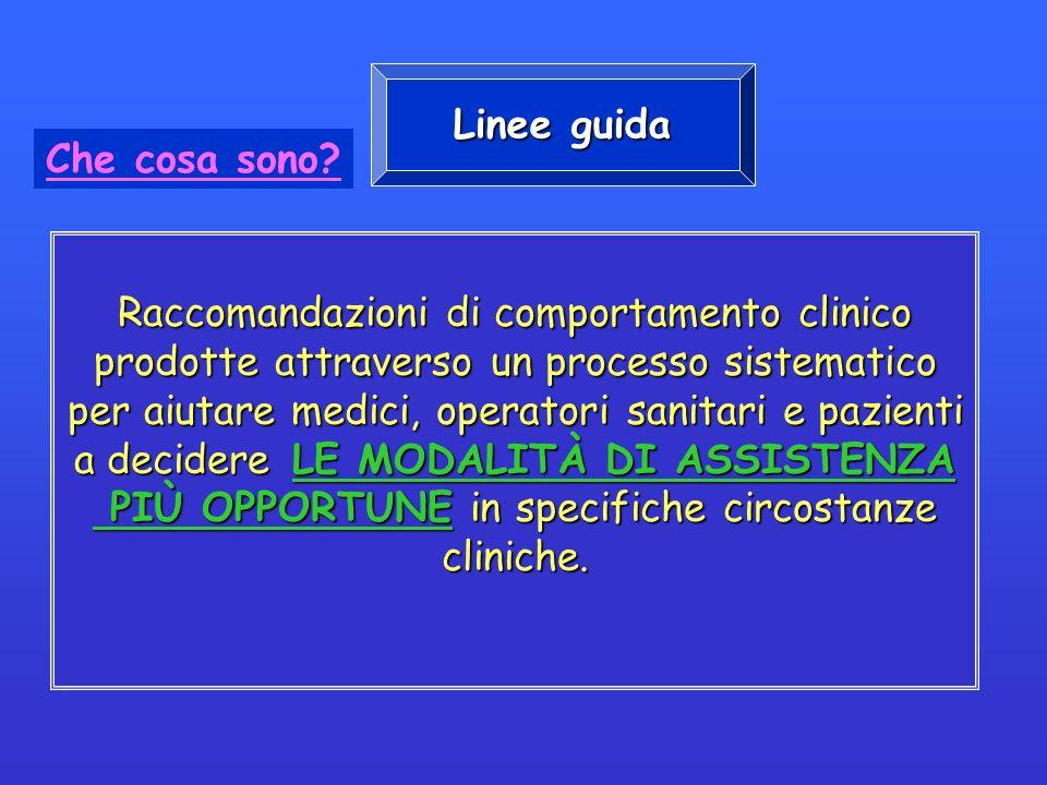 Raccomandazioni di comportamento clinico prodotte attraverso un processo sistematico per aiutare medici, operatori sanitari e pazienti a decidere LE M