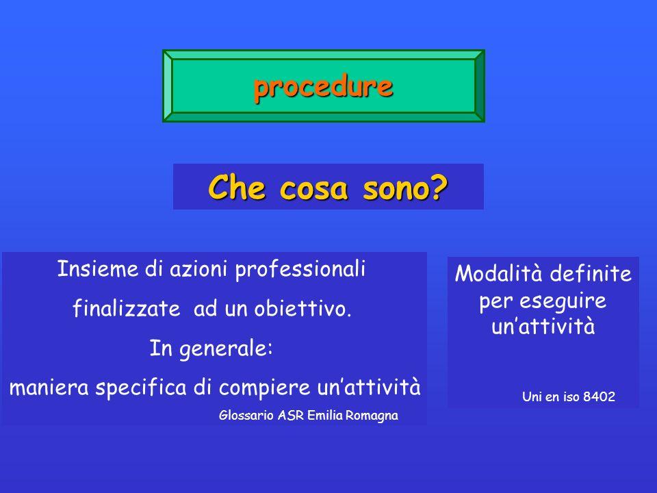 procedure Che cosa sono? Insieme di azioni professionali finalizzate ad un obiettivo. In generale: maniera specifica di compiere unattività Glossario