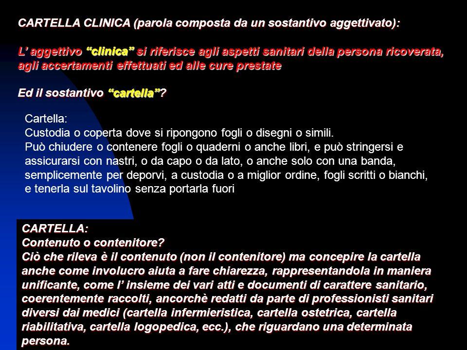 CARTELLA CLINICA (parola composta da un sostantivo aggettivato): L aggettivo clinica si riferisce agli aspetti sanitari della persona ricoverata, agli