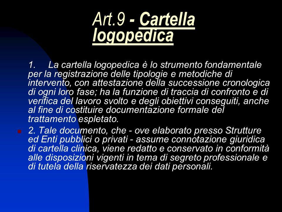 Art.9 - Cartella logopedica 1. La cartella logopedica è lo strumento fondamentale per la registrazione delle tipologie e metodiche di intervento, con