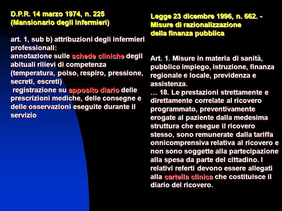 D.P.R. 14 marzo 1974, n. 225 (Mansionario degli infermieri) art. 1, sub b) attribuzioni degli infermieri professionali: annotazione sulle schede clini