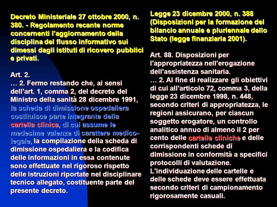 Decreto Ministeriale 27 ottobre 2000, n. 380. - Regolamento recante norme concernenti l'aggiornamento della disciplina del flusso informativo sui dime