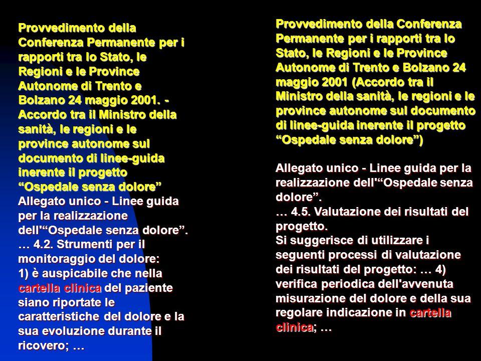 Provvedimento della Conferenza Permanente per i rapporti tra lo Stato, le Regioni e le Province Autonome di Trento e Bolzano 24 maggio 2001. - Accordo
