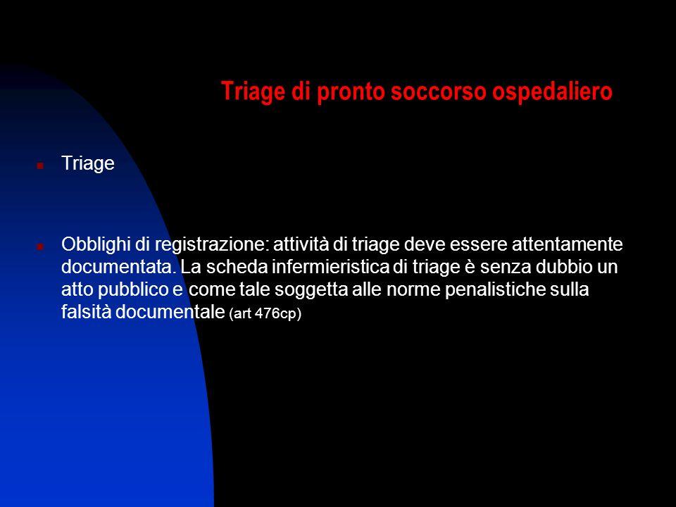 Triage di pronto soccorso ospedaliero Triage Obblighi di registrazione: attività di triage deve essere attentamente documentata. La scheda infermieris