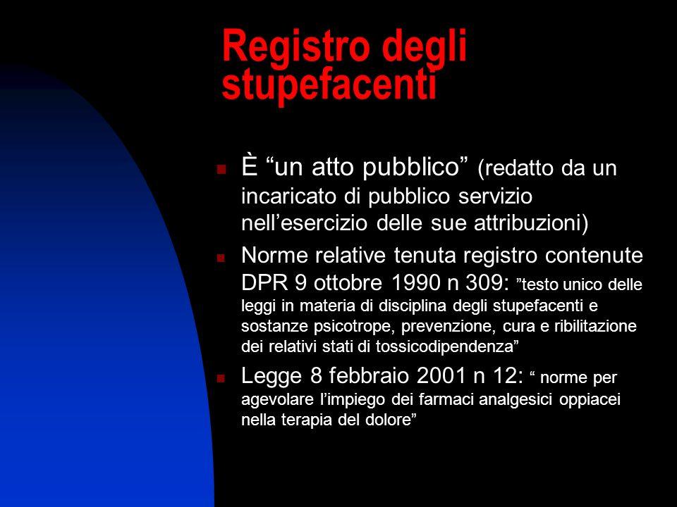 Registro degli stupefacenti È un atto pubblico (redatto da un incaricato di pubblico servizio nellesercizio delle sue attribuzioni) Norme relative ten