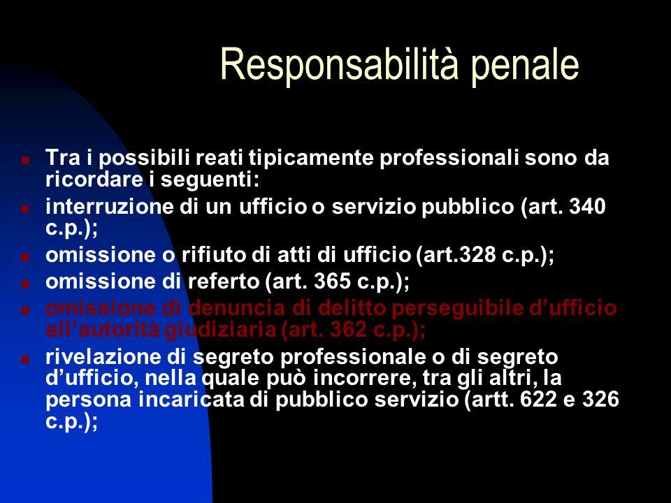 Responsabilità penale Tra i possibili reati tipicamente professionali sono da ricordare i seguenti: interruzione di un ufficio o servizio pubblico (ar