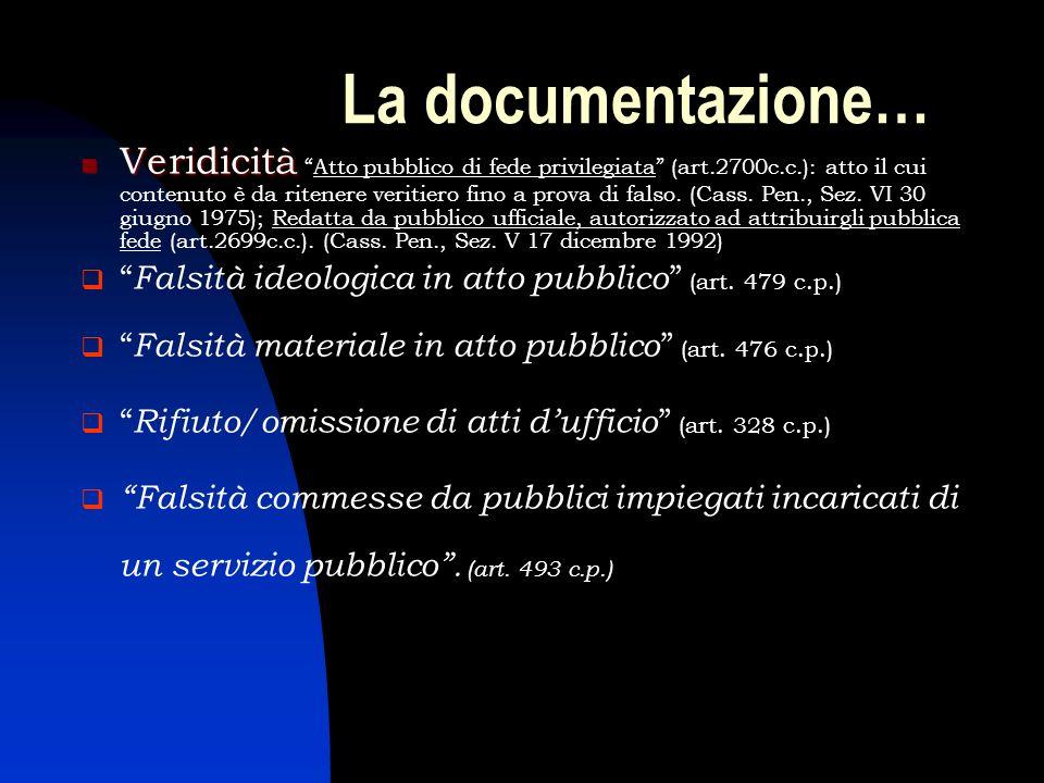 La documentazione… Veridicità VeridicitàAtto pubblico di fede privilegiata (art.2700c.c.): atto il cui contenuto è da ritenere veritiero fino a prova
