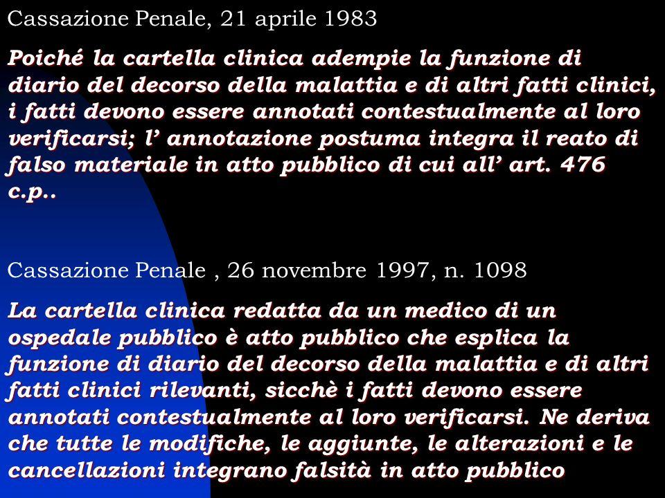 Cassazione Penale, 21 aprile 1983 Poiché la cartella clinica adempie la funzione di diario del decorso della malattia e di altri fatti clinici, i fatt