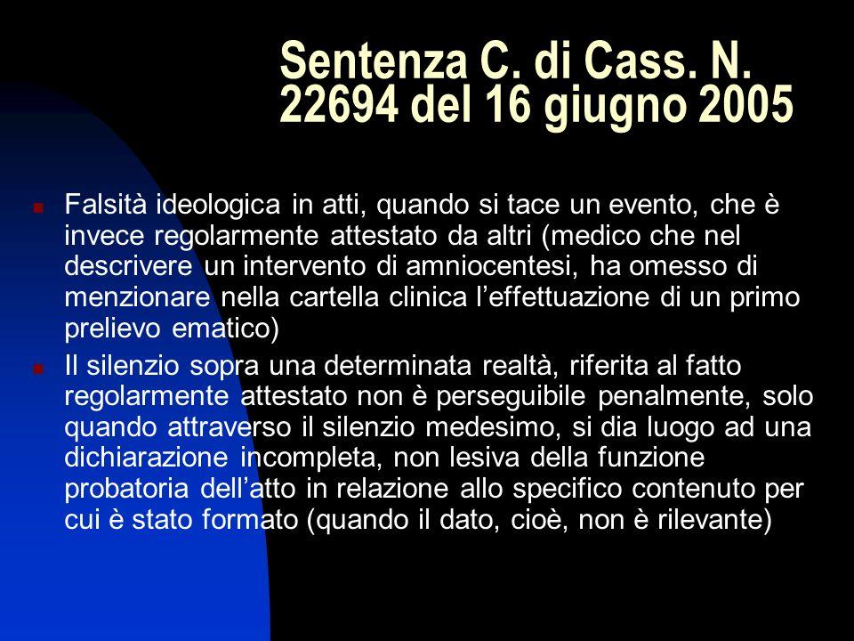 Sentenza C. di Cass. N. 22694 del 16 giugno 2005 Falsità ideologica in atti, quando si tace un evento, che è invece regolarmente attestato da altri (m