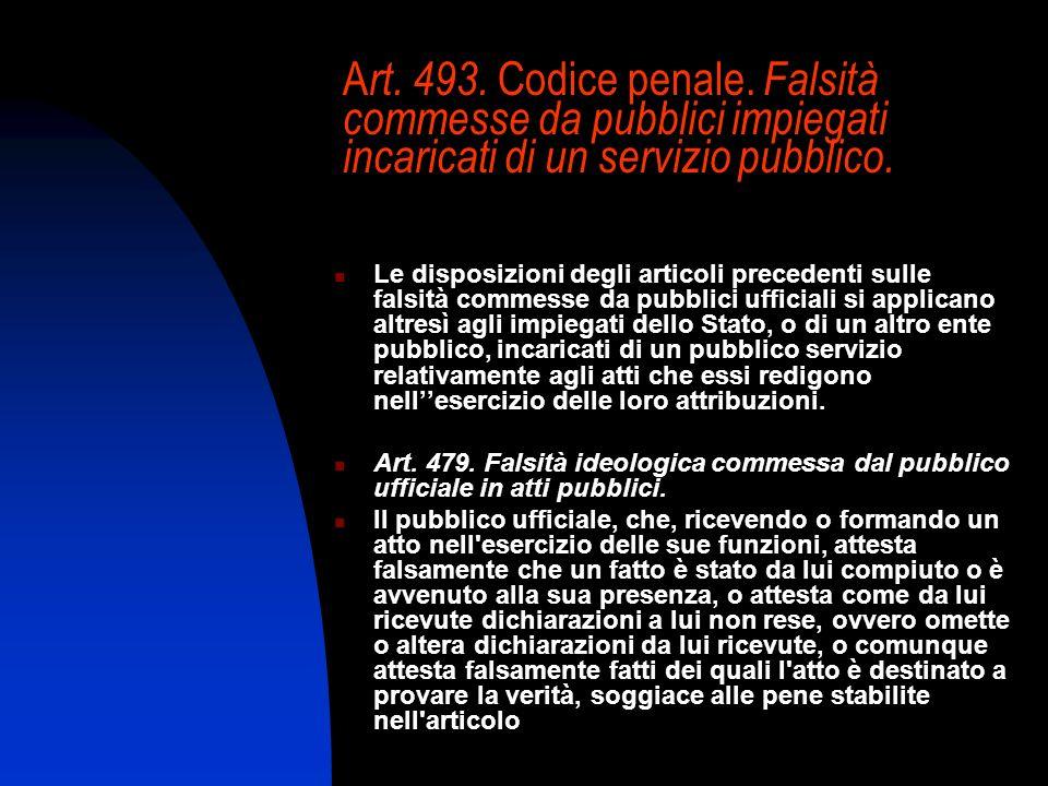 A rt. 493. Codice penale. Falsità commesse da pubblici impiegati incaricati di un servizio pubblico. Le disposizioni degli articoli precedenti sulle f