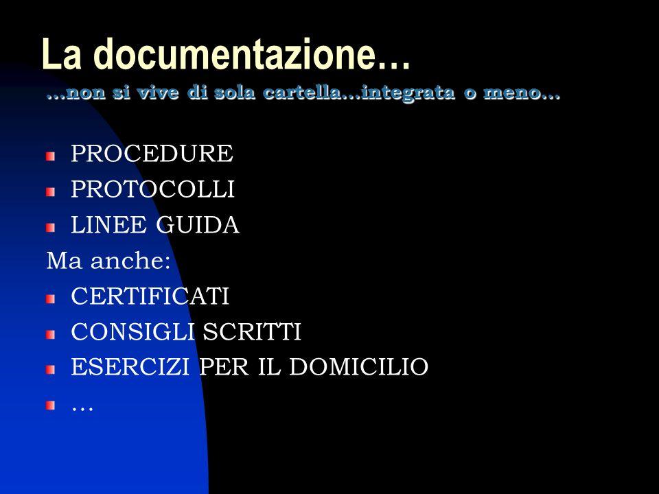 La documentazione… …non si vive di sola cartella…integrata o meno… PROCEDURE PROTOCOLLI LINEE GUIDA Ma anche: CERTIFICATI CONSIGLI SCRITTI ESERCIZI PE