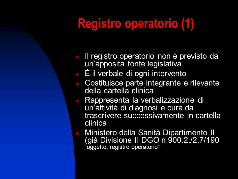 Registro operatorio (1) Il registro operatorio non è previsto da unapposita fonte legislativa È il verbale di ogni intervento Costituisce parte integr