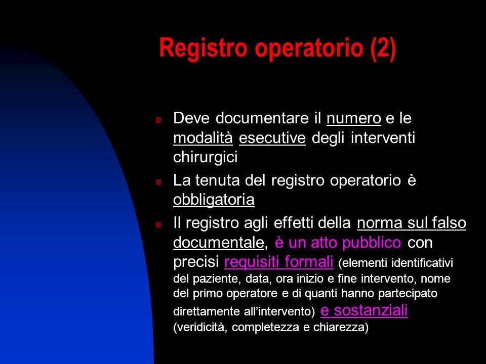 Registro operatorio (2) Deve documentare il numero e le modalità esecutive degli interventi chirurgici La tenuta del registro operatorio è obbligatori