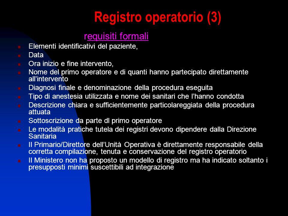 Registro operatorio (3) requisiti formali: Elementi identificativi del paziente, Data Ora inizio e fine intervento, Nome del primo operatore e di quan