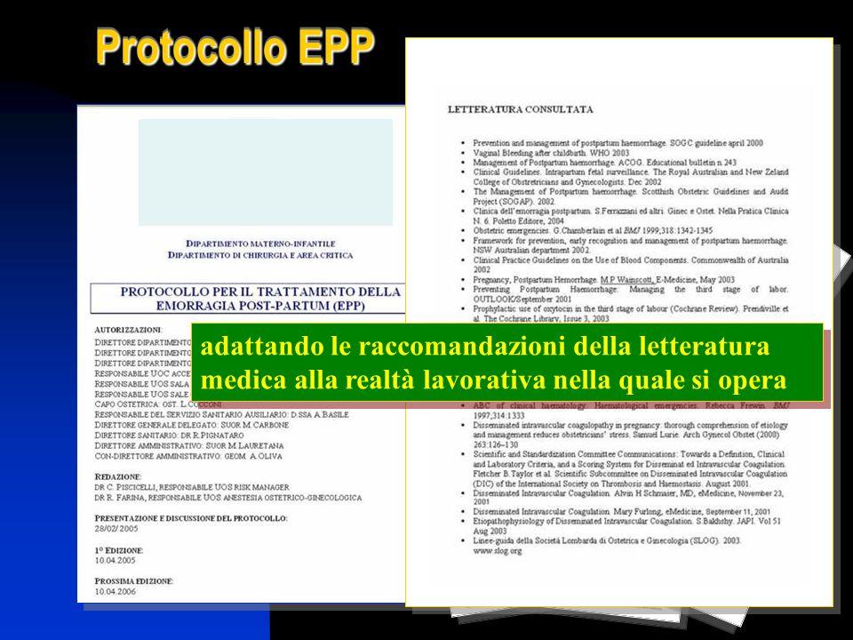 adattando le raccomandazioni della letteratura medica alla realtà lavorativa nella quale si opera Protocollo EPP