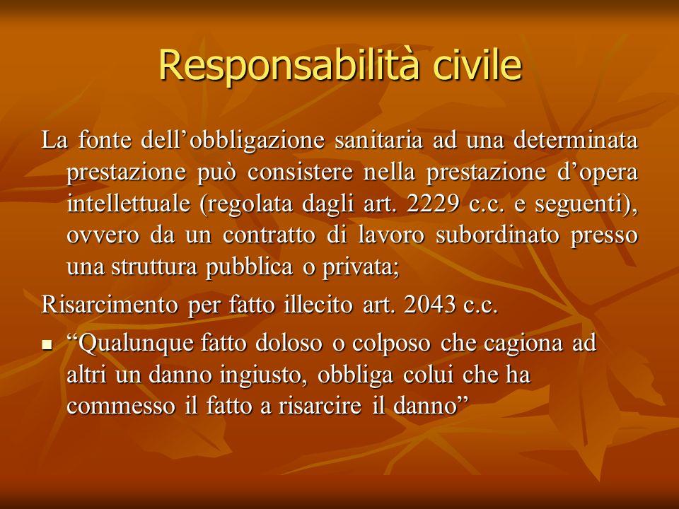 Responsabilità civile La fonte dellobbligazione sanitaria ad una determinata prestazione può consistere nella prestazione dopera intellettuale (regola