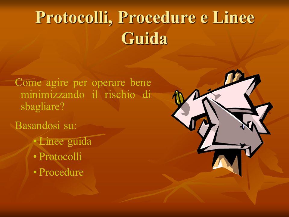 Come agire per operare bene minimizzando il rischio di sbagliare? Basandosi su: Linee guida Protocolli Procedure Protocolli, Procedure e Linee Guida