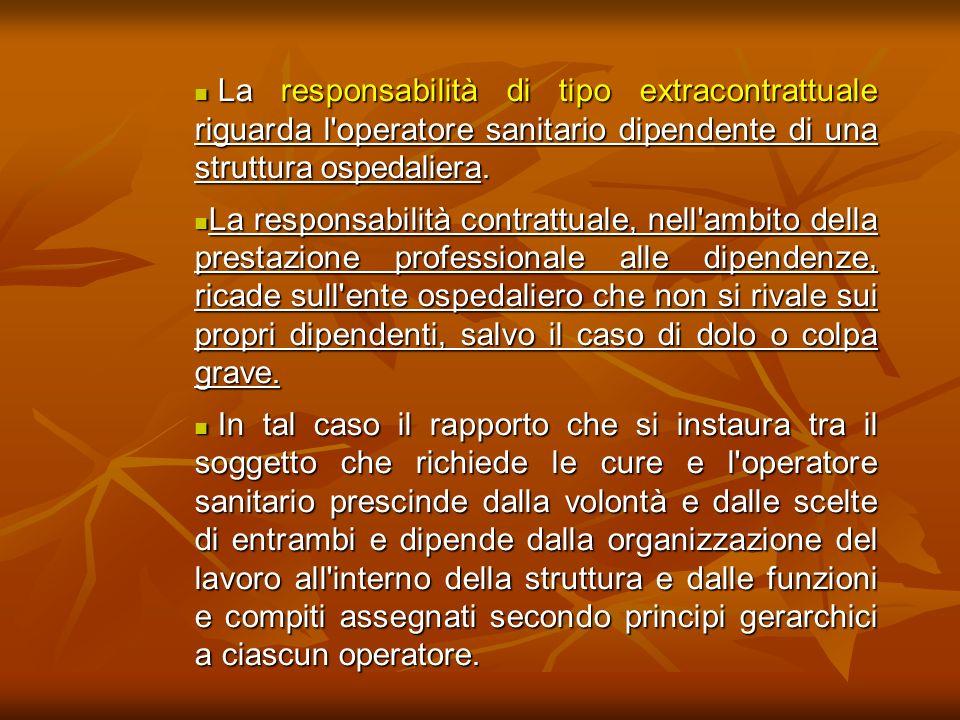 La responsabilità di tipo extracontrattuale riguarda l'operatore sanitario dipendente di una struttura ospedaliera. La responsabilità di tipo extracon