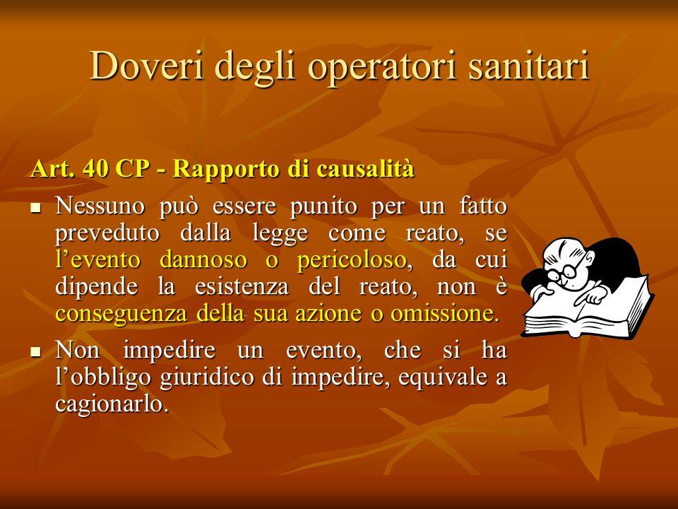 Doveri degli operatori sanitari Art. 40 CP - Rapporto di causalità Nessuno può essere punito per un fatto preveduto dalla legge come reato, se levento