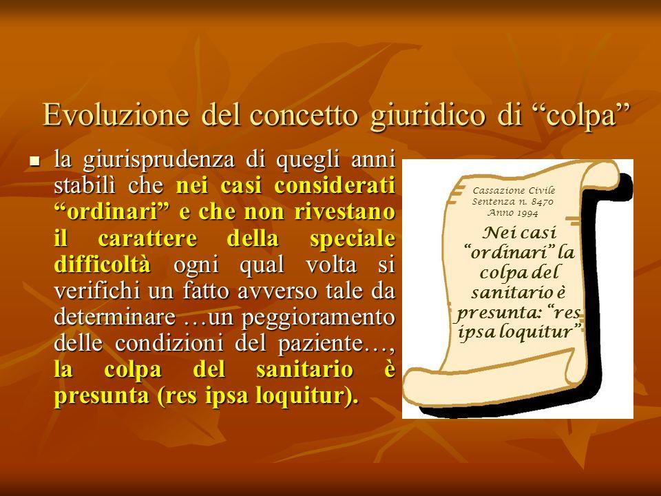 Evoluzione del concetto giuridico di colpa la giurisprudenza di quegli anni stabilì che nei casi considerati ordinari e che non rivestano il carattere