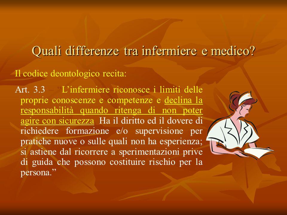Quali differenze tra infermiere e medico? Il codice deontologico recita: Art. 3.3 – Linfermiere riconosce i limiti delle proprie conoscenze e competen
