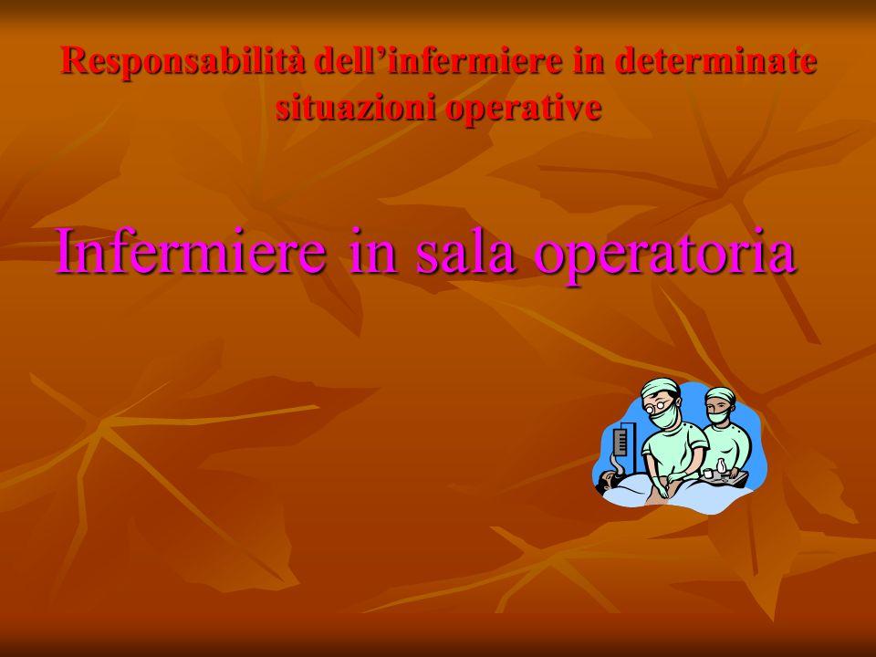 Responsabilità dellinfermiere in determinate situazioni operative Infermiere in sala operatoria
