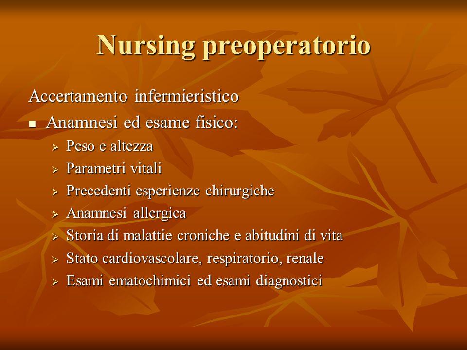 Nursing preoperatorio Accertamento infermieristico Anamnesi ed esame fisico: Anamnesi ed esame fisico: Peso e altezza Peso e altezza Parametri vitali