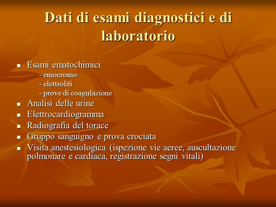 Dati di esami diagnostici e di laboratorio Esami ematochimici Esami ematochimici - emocromo - elettroliti - prove di coagulazione Analisi delle urine