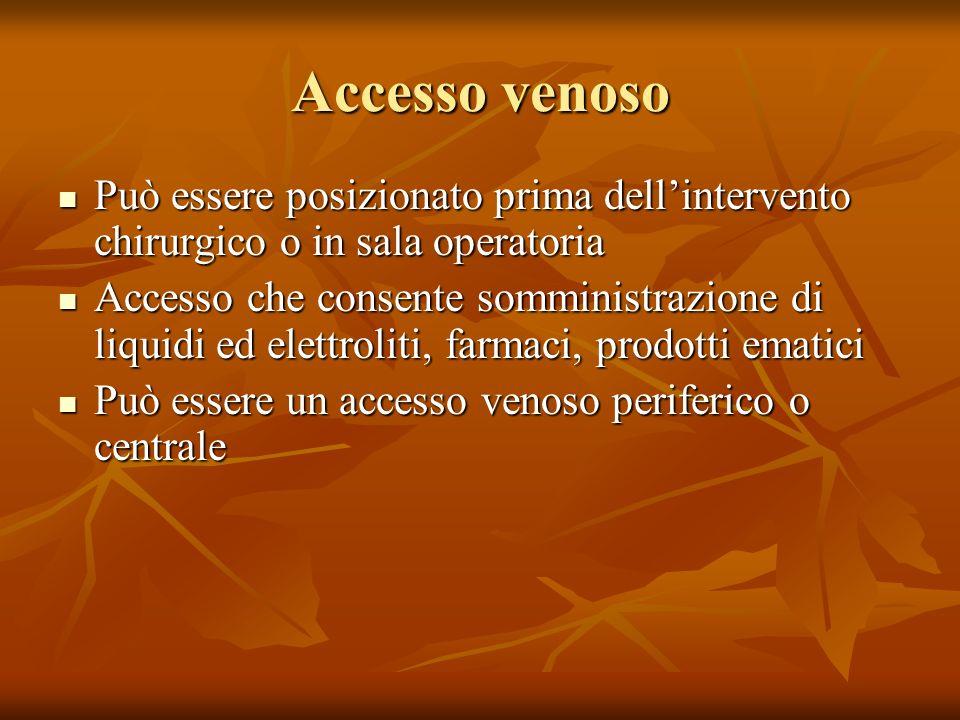 Accesso venoso Può essere posizionato prima dellintervento chirurgico o in sala operatoria Può essere posizionato prima dellintervento chirurgico o in