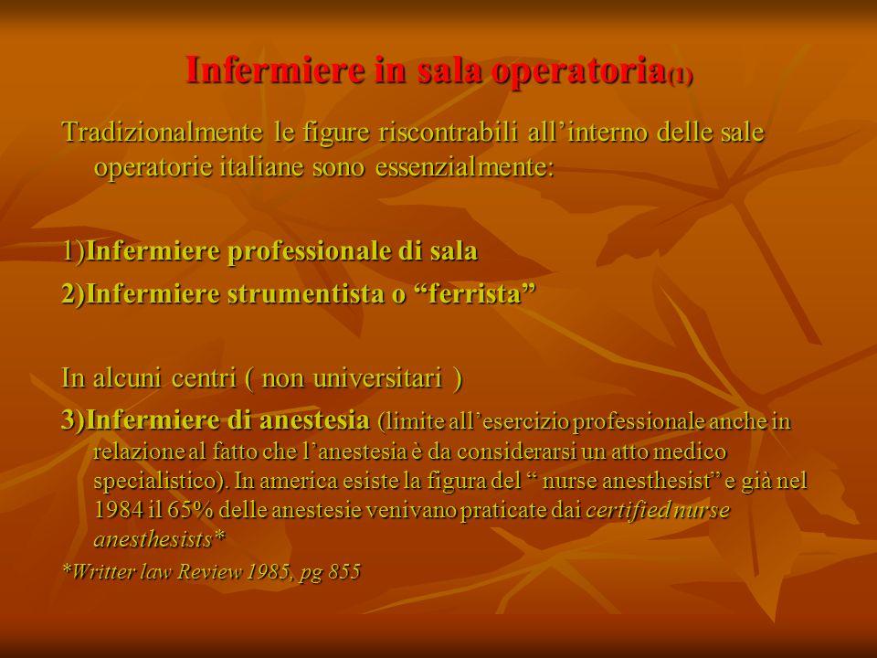 Infermiere in sala operatoria (1) Tradizionalmente le figure riscontrabili allinterno delle sale operatorie italiane sono essenzialmente: 1)Infermiere