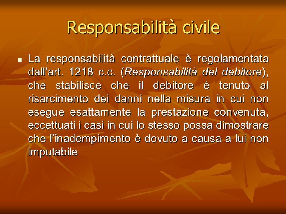 Responsabilità civile La responsabilità contrattuale è regolamentata dallart. 1218 c.c. (Responsabilità del debitore), che stabilisce che il debitore