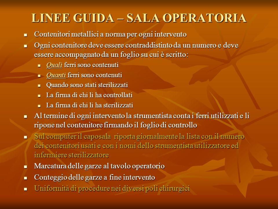 LINEE GUIDA – SALA OPERATORIA Contenitori metallici a norma per ogni intervento Contenitori metallici a norma per ogni intervento Ogni contenitore dev