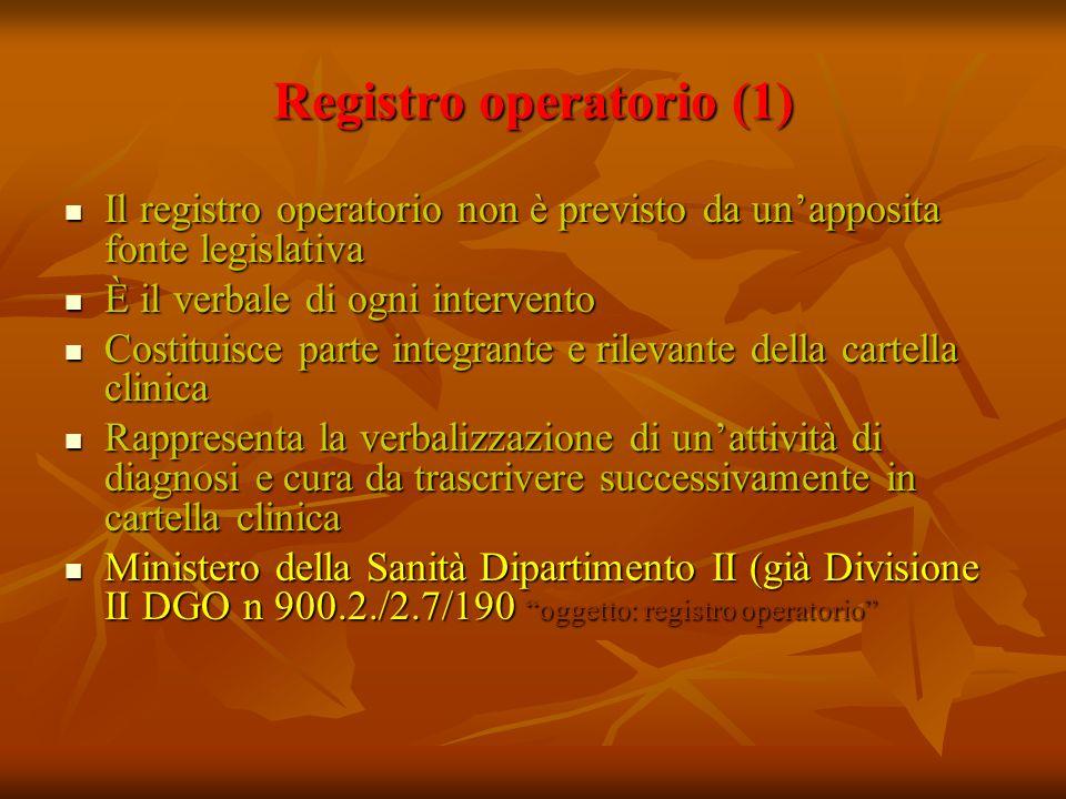 Registro operatorio (1) Il registro operatorio non è previsto da unapposita fonte legislativa Il registro operatorio non è previsto da unapposita font