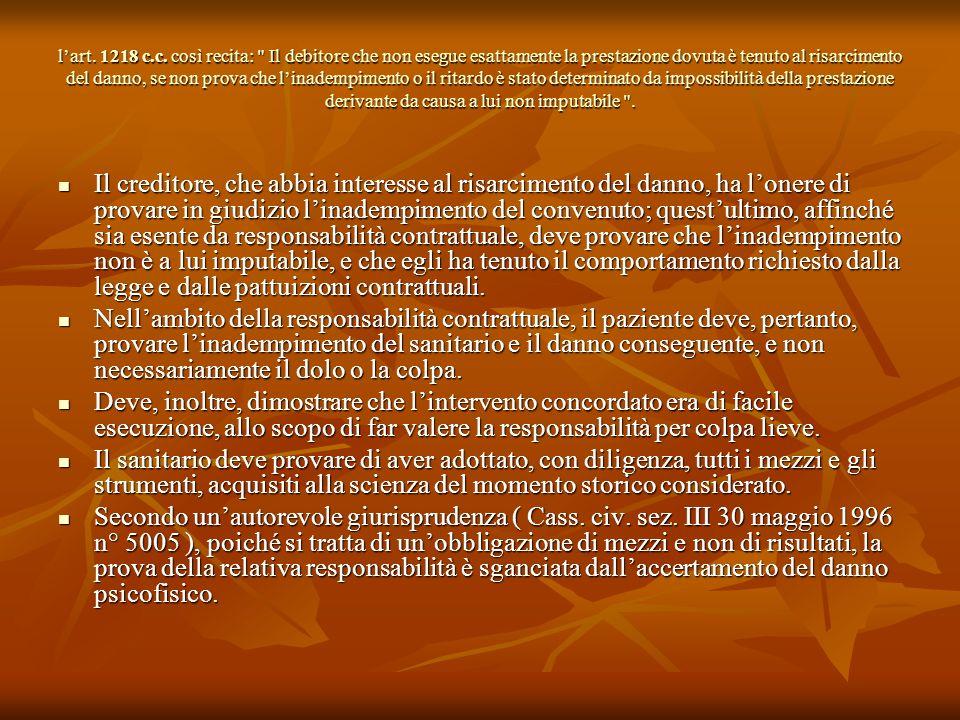 lart. 1218 c.c. così recita: