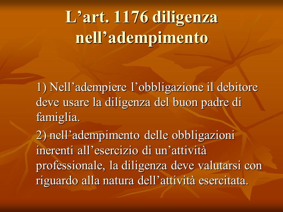 Lart. 1176 diligenza nelladempimento 1) Nelladempiere lobbligazione il debitore deve usare la diligenza del buon padre di famiglia. 2) nelladempimento