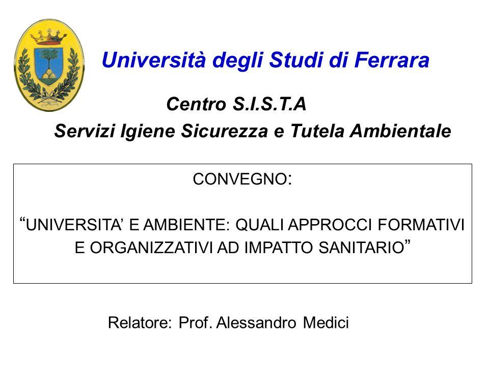 Servizi Igiene Sicurezza e Tutela Ambientale Centro S.I.S.T.A Università degli Studi di Ferrara CONVEGNO : UNIVERSITA E AMBIENTE: QUALI APPROCCI FORMA