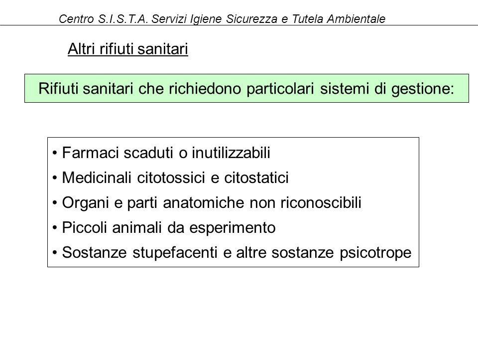 Rifiuti sanitari che richiedono particolari sistemi di gestione: Centro S.I.S.T.A.