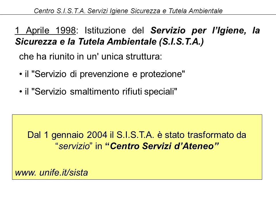 Centro S.I.S.T.A. Servizi Igiene Sicurezza e Tutela Ambientale che ha riunito in un' unica struttura: il